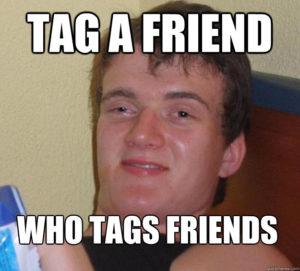 Tag a friend social media post
