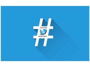 Hashtag symbol blue background