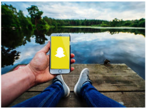 Snapchatting at lake