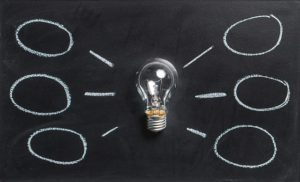 Mind map with light bulb