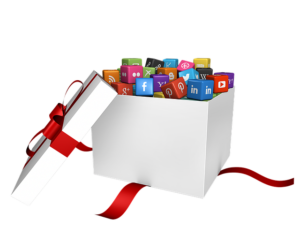 Social media platforms in gift box
