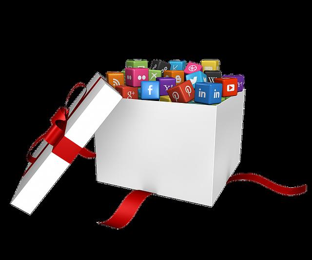 Social media platforms in gift box