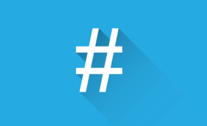 Hashtags with blue background