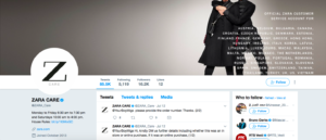 Zara care customer service Social media