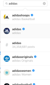 Adidas multiple accounts social media