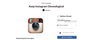 Instagram petition against algorithm