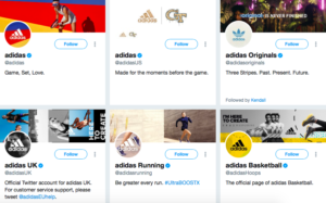 Adidas Multiple Twitter account