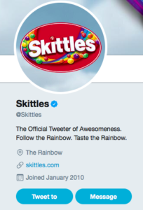 Skittles twitter account