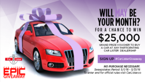 Instagram car giveaway enter to win