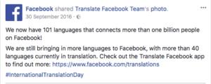Facebook 101 languages