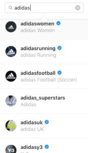 Adidas social media account