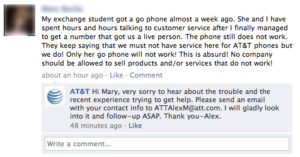 AT&T customer service social media