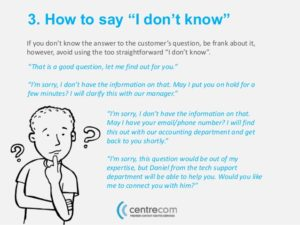 What to answer when you don't know customer service