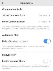 Block comments instagram
