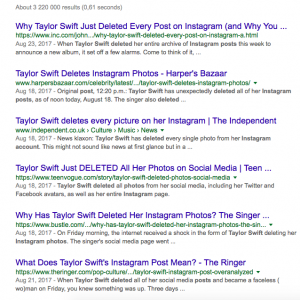 Google searches Taylor Swift Instagram archives