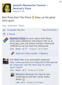 Automated response social media fail