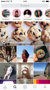 Instagram search and explore tab