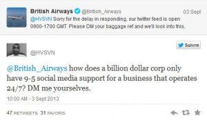 Social media customer complaint
