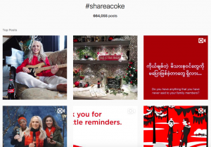 Coca-Colla share a coke social media campaign