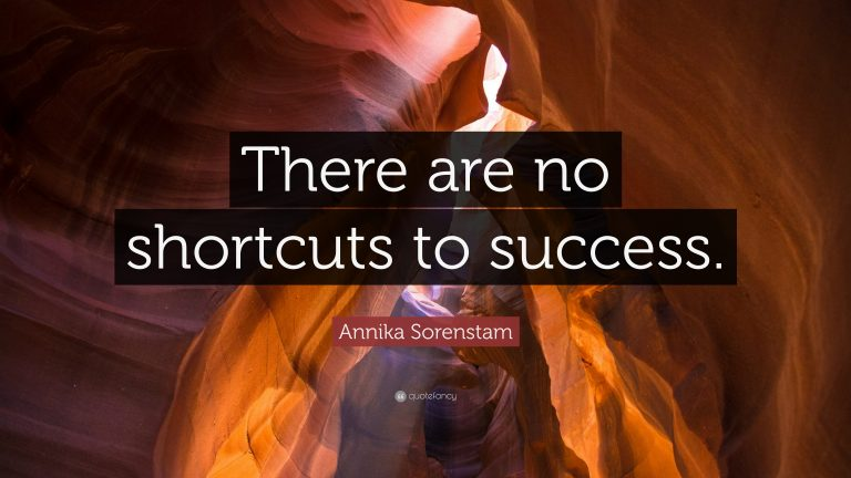 thERE ARE NO SHORTCUTS TO SUCCESS QUOTE
