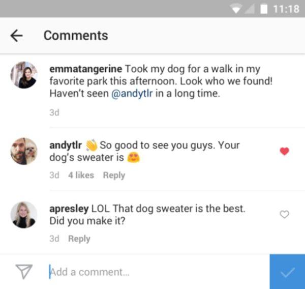 Gilla kommentarer på Instagram