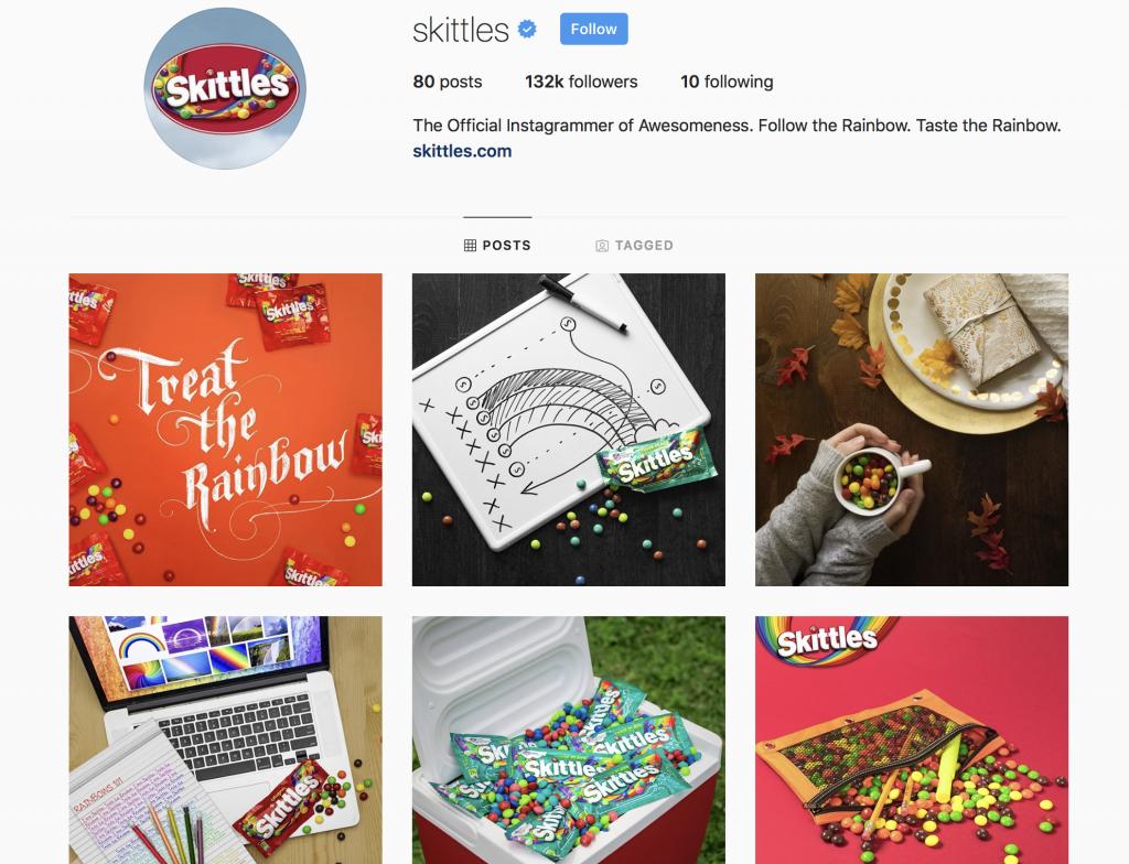Skittles social media account
