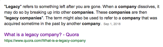 Legacy company